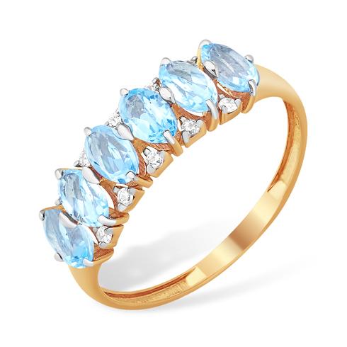 Кольцо с голубыми топазами