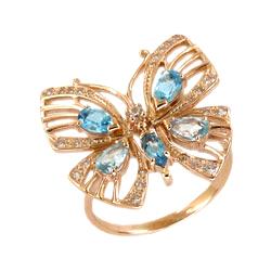 """Кольцо """"бабочка"""" из золота с топазами и фианитами"""
