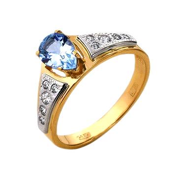Кольцо из белого и красного золота с топазом и фианитами