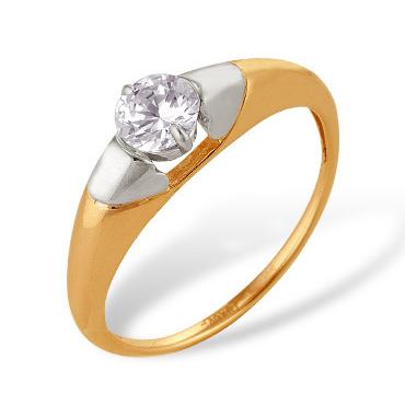 Классическое женское золотое кольцо с фианитом