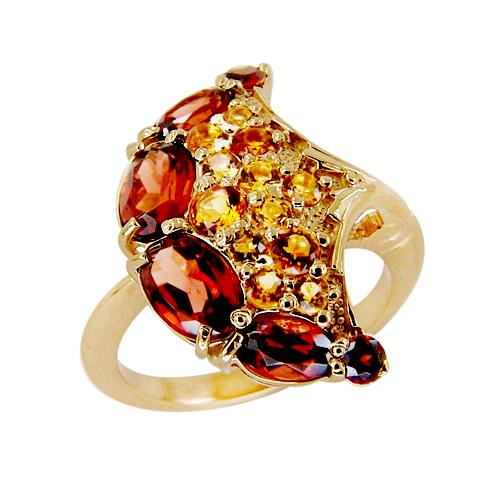 Кольцо из золота с гранатами и цитринами