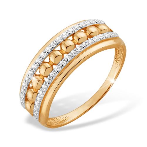 Кольцо с шариками из золота с фианитами