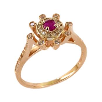 Кольцо из золота с красно-пурпурным и белыми фианитами