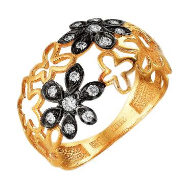 """Кольцо из золота """"цветочки"""" с фианитами"""