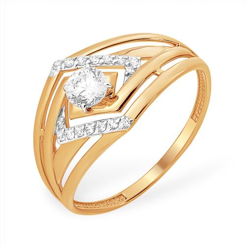 Золотое кольцо с кристаллом Swarowski и фианитами