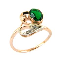 Кольцо из золота со шпинелью и фианитами