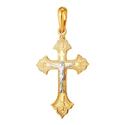 Купить крест из красного и белого золота, модель 1300040524