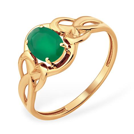 Золотое кольцо с зелёным агатом