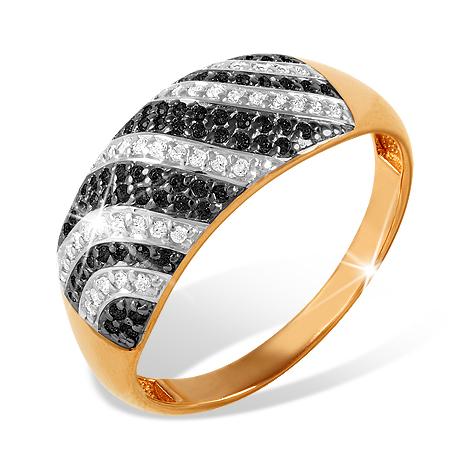 Золотое кольцо с чёрными и бесцветными фианитами