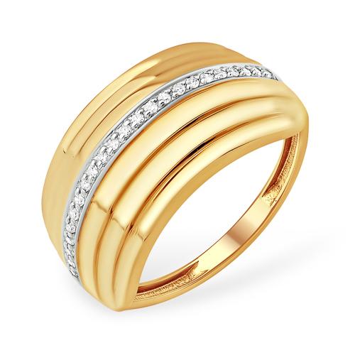 Широкое кольцо из золота с фианитами
