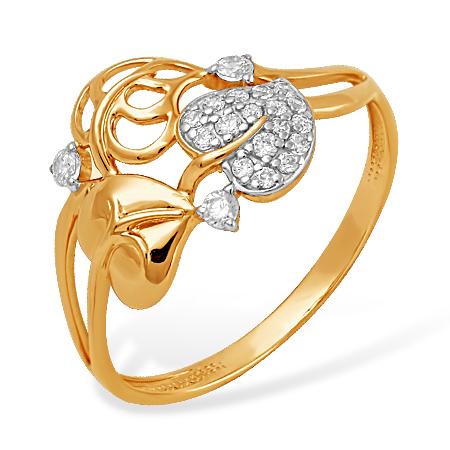 """Кольцо """"листики"""" из золота с фианитами"""