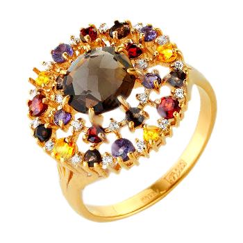 Кольцо из золота с раух-топазами, гранатами, цитринами, аметистами и фианитами
