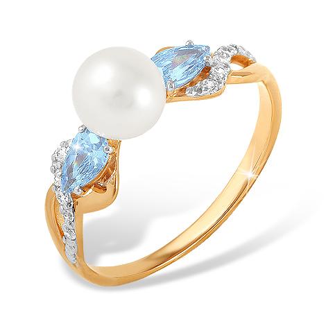 Кольцо с белым жемчугом, голубыми и белыми фианитами