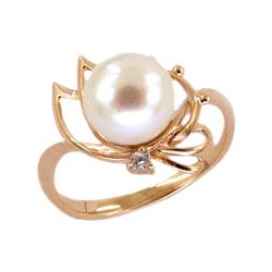 Золотое кольцо с жемчугом и фианитом
