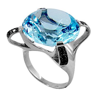 Кольцо из белого золота с огромным топазом и черными бриллиантами