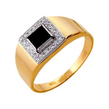 Мужское кольцо из золота с черными и белыми фианитами