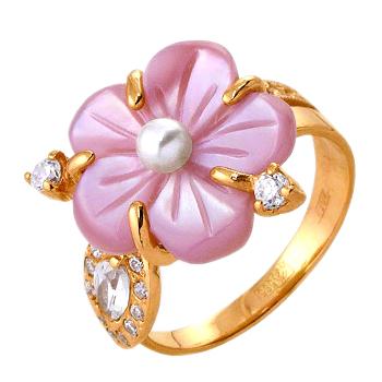Кольцо из золота с розовым перламутром в виде цветка, жемчугом и фианитами