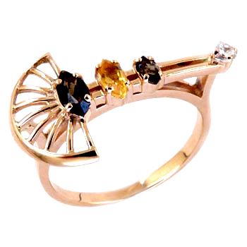 Кольцо из золота с раух-топазами, цитрином и фианитом