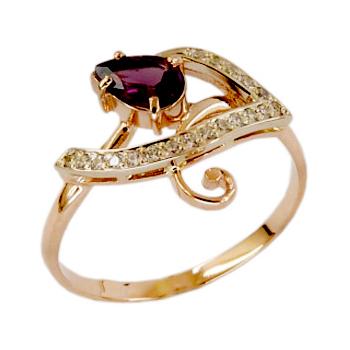Золотое кольцо с родолитом и фианитами