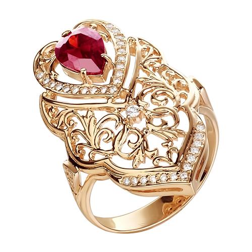 Большое кольцо из золота с родолитами и фианитами