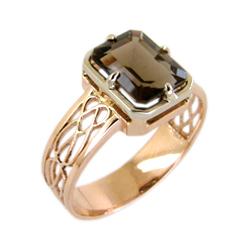 Мужское кольцо из золота с раух-топазом