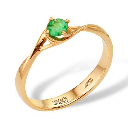 Купить золотое кольцо с изумрудом, модель 0010210769