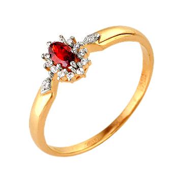 Классическое кольцо из золота с гранатом и фианитами
