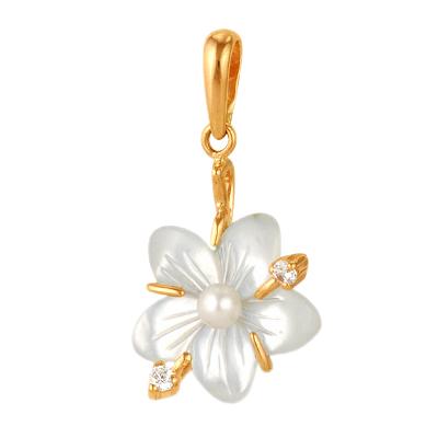 """Подвеска """"цветок"""" из золота с перламутром, жемчугом и фианитами"""