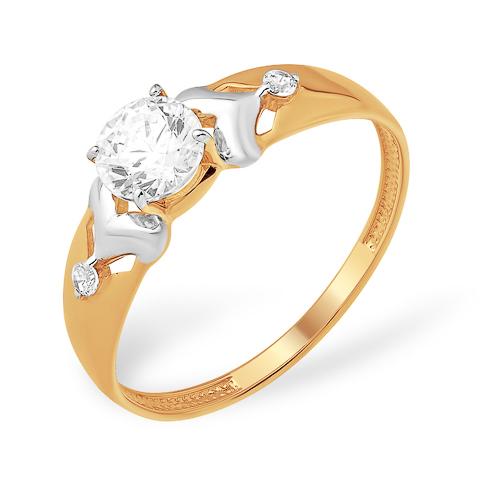 Кольцо с кристаллом Сваровски и фианитами