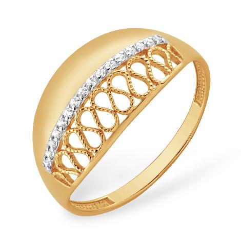 Ажурное кольцо с филигранью и фианитами