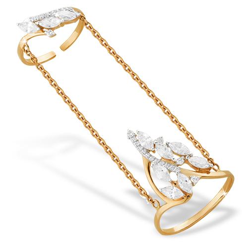 Золотое кольцо на две фаланги и фианитами