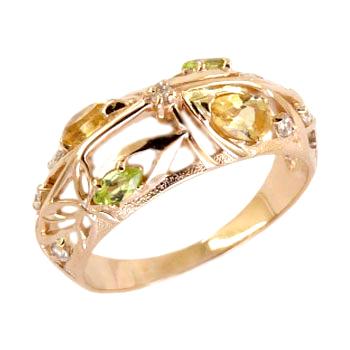 Кольцо из золота с цитринами, хризолитами и фианитами