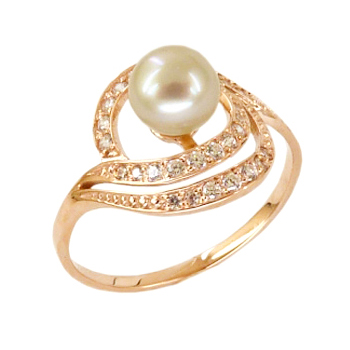 Кольцо из золота с жемчужиной и фианитами
