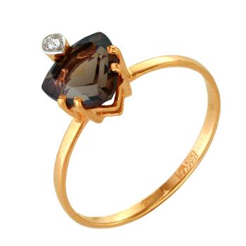 Кольцо из красного золота с раух-топазом и фианитом