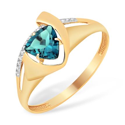 Золотое кольцо с лондон топазом в форме триллиона