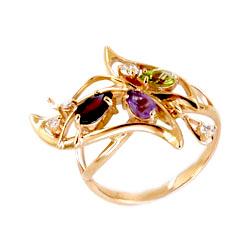 Кольцо из золота с аметистом, гранатом, хризолитом и фианитами