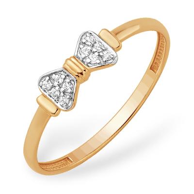 """Золотое кольцо """"бантик"""" с фианитами"""