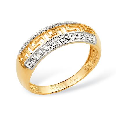 """Кольцо с узором """"Версаче"""" из золота с фианитами"""