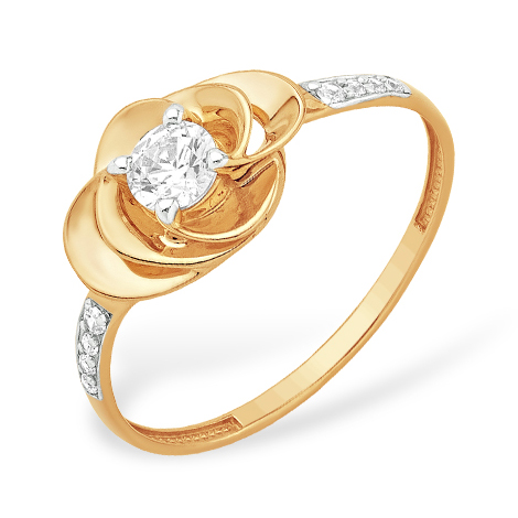 """Золотое кольцо """"цветочек"""" с кристаллом Swarovski и фианитами"""