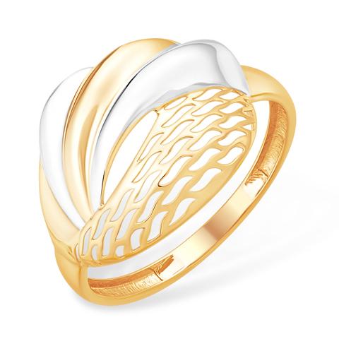 Объёмное кольцо с родиевым покрытием