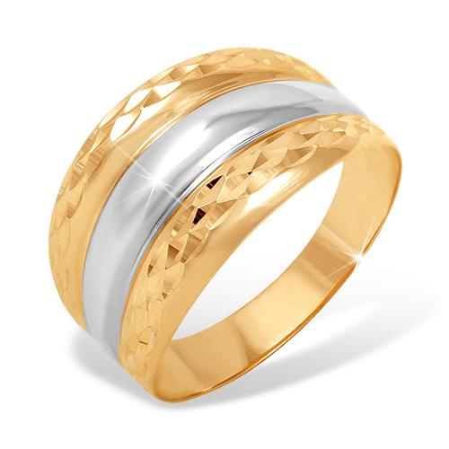 Кольцо из красного и белого золота с алмазной гранью