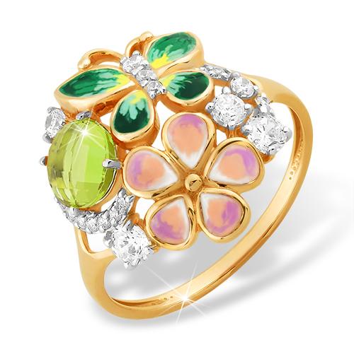 Летнее кольцо с хризолитом, бабочкой и цветком, покрытые эмалью