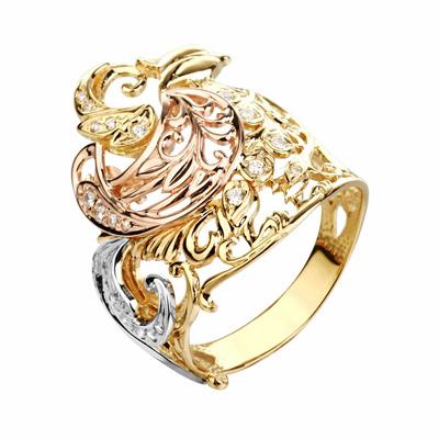 Кольцо из красного и белого золота с фианитами