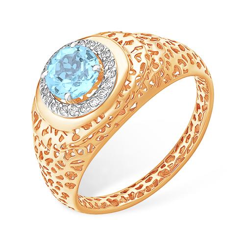Перстень с голубым топазом и фианитами