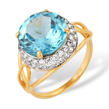 Кольцо из золота с большим топазом и фианитами