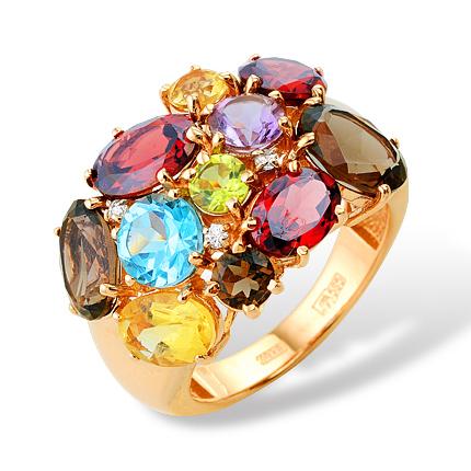 Кольцо из золота с гранатами, цитринами, раух-топазами, аметистом, хризолитом, топазом и фианитами