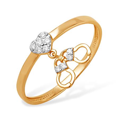 """Кольцо """"наручники"""" из золота с фианитами"""