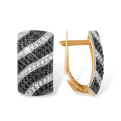 Широкие золотые серьги с чёрными и бесцветными фианитами