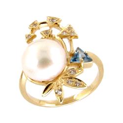 Золотое кольцо с жемчугом, топазом и фианитами