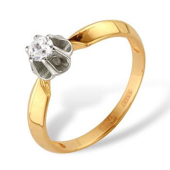 Классическое женское кольцо из золота с фианитом
